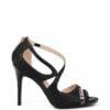 Sandałki czarne błyszczące szpilki pasek na skos
