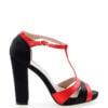 Sandałki czarno-czerwone satyna słupek