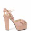 Sandałki różowe na słupku frędzelki platforma