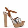 Sandałki srebrne brązowe na słupku
