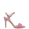 Sandałki różowe szpilki zamszowe
