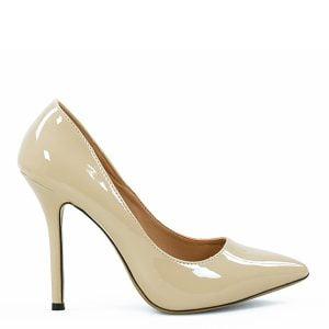 Klasyczne,beżowe czółenka. Szpic oraz wysoka, cienka szpilka ładnie wysmuklają nogę.Cieliste szpilki lakierowane
