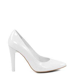 JADE - Białe eleganckie klasycznie gładkie szpilki. Buty wykonane z naturalnej skóry.
