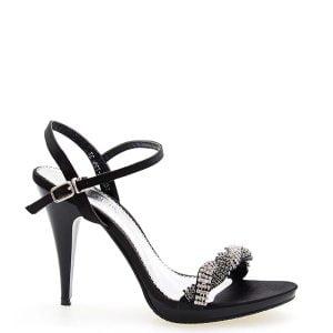 Sandałki czarne wizytowe plecione cyrkonie