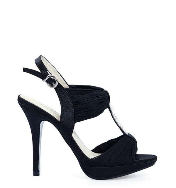 Czarne sandałki szpilki z szyfonu ozdobione cyrkoniami.