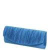 Torebka niebieska kopertówka marszczona klapa