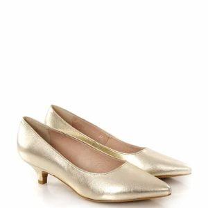 Jessica Jasno złote buty na niskim obcasie