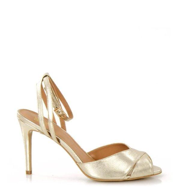GASSU złote sandałki na szpilce CAROLYN
